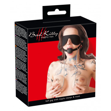 Bad Kitty Ball Gag Nipple Clamps Mask