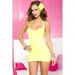 Mini-Kleid mit Schlitzen - Gelb