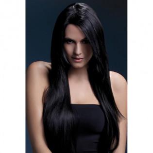Langhaarperücke mit glattem Haar in Schwarz