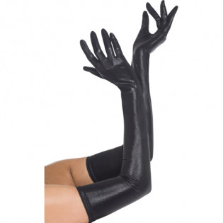 Lange Handschuhe im Wetlook in Schwarz