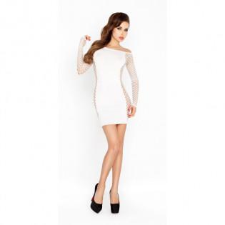Weißes Minikleid mit Ärmeln aus Netzmaterial